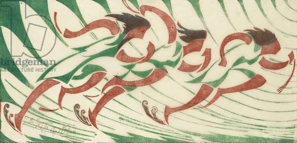 The Runners, c.1930 (linocut)