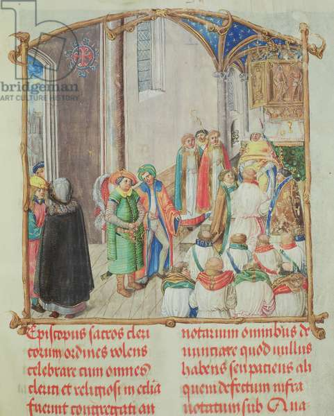 Ordination into the Priesthood from the 'Pontifical of Bishop Erasmus Ciolek', c.1510 (tempera & gold on parchment)
