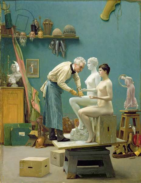 Working in Marble, or The Artist Sculpting Tanagra, 1890 (oil on canvas)