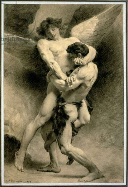 Study for Jacob Wrestling with the Angel, 1876 (pencil & black chalk on paper)