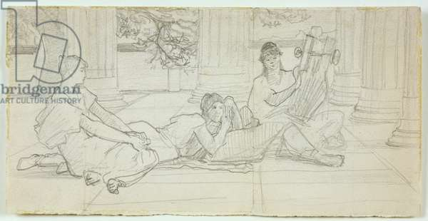 First concept for 'A Reading of Homer' c.1884-85 (pencil on paper)