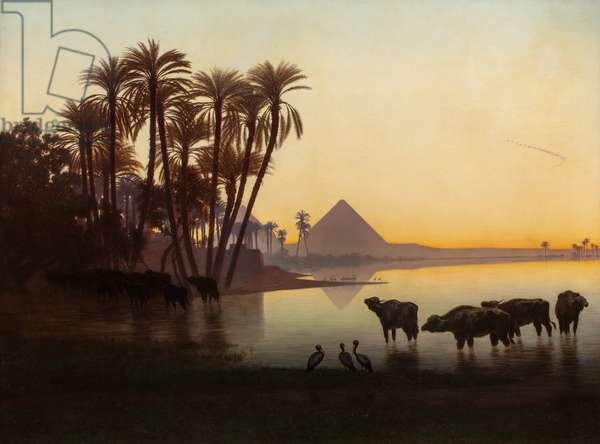Along the Nile at Gyzeh, c.1850s (oil on canvas)