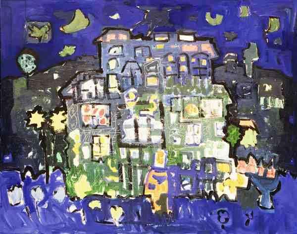 Night Scene (oil & acrylic on canvas)