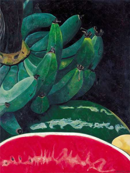 Watermelon and Green Bananas, 2002 (oil on linen)