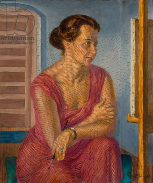 Helen at the Easel, 1947 (casein tempera underpaint, oil varnish glaze on panel)