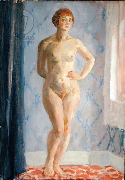 Blonde Nude Standing by Window, c.1924 (oil on canvasboard)