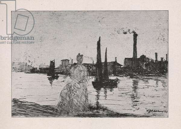By the River, 1895 (etching)