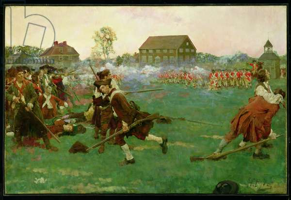 The Fight on Lexington Common, April 19, 1775, from 'The Story of the Revolution' by Woodrow Wilson (1856-1924)  (oil on canvas)