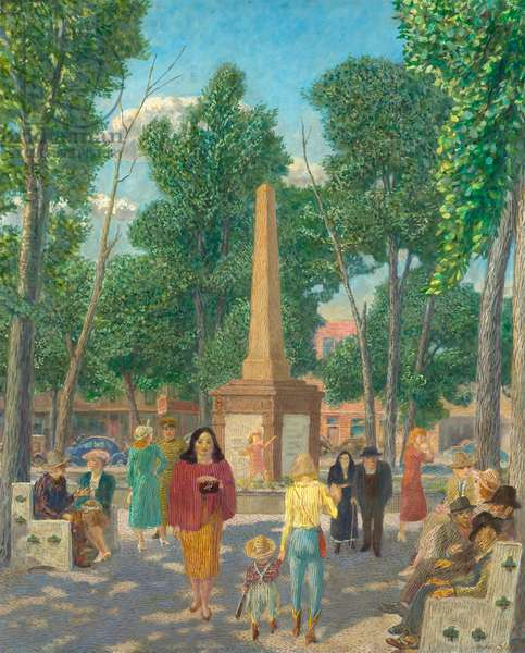 Monument in the Plaza, New York, 1949 (tempera and oil on panel)