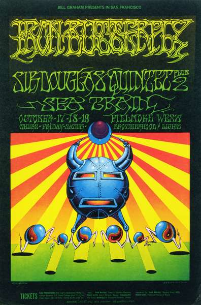 Rock Concert poster for Iron Butterfly and Sir Douglas Quintet Plus 2 at Fillmore Auditorium, San Francisco, October 1968 (colour litho)
