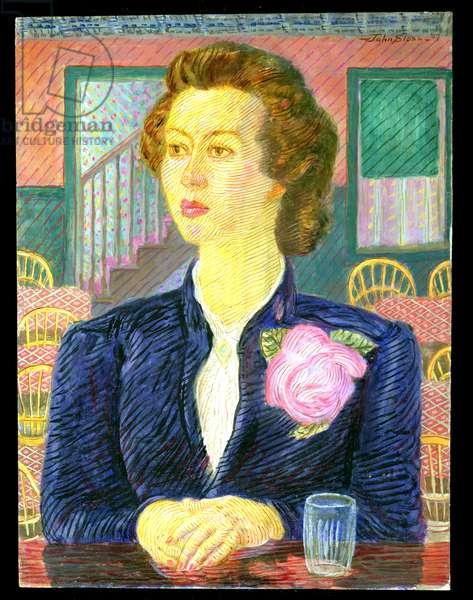 Girl in Cafe, 1947 (oil & tempera on panel)