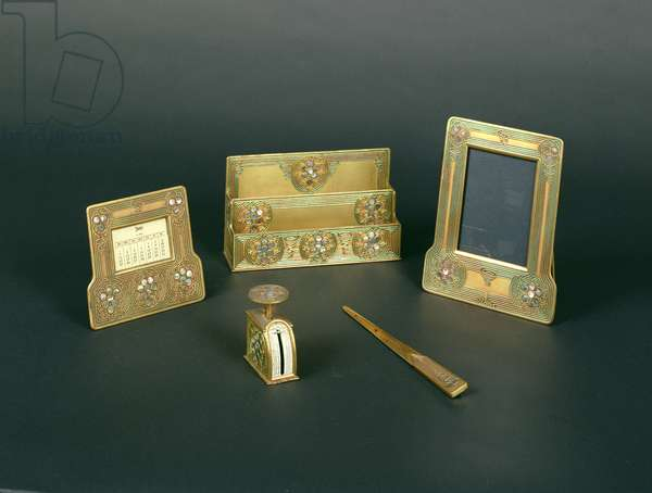 Desk Set, for Tiffany and Company (bronze and other materials)