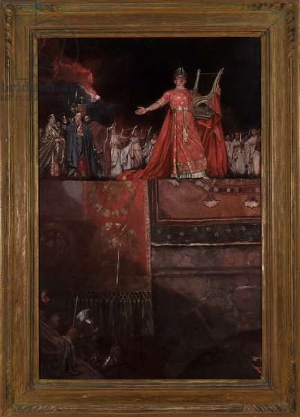 Nero (AD 37-68) holding a golden lute with Rome in flames, from 'Quo Vadis' by Henryk Sienkiewicz, published 1897 (oil on canvas)