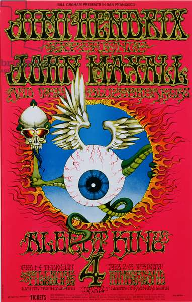 Rock concert poster for The Jimi Hendrix Experience, John Mayall and the Bluesbreakers, at the Fillmore Auditorium, San Francisco, February 1, 1968 (colour litho)
