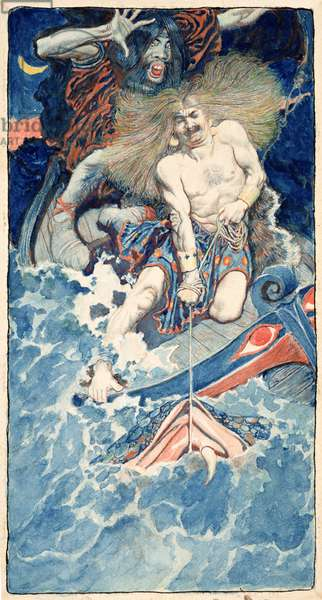 The Fishing of Thor and Hymir, from 'North Folk Legends of the Sea' by Howard Pyle, published in Harper's Monthly Magazine, January 1902 (w/c on paper)