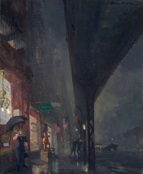 Wet Night on the Bowery, 1911 (oil on canvas)