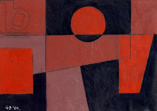 Related Reds with Black, 1999 (oil on card)