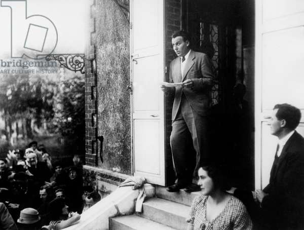 French writer Louis Ferdinand Celine (1894-1961), here outside the house of Zola in Medan pronouncing the only speech of his career, 30's