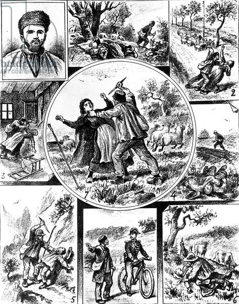 the Vacher Affair, in France late 19th century, one of the first serial killers, in 1895-1898, engraving