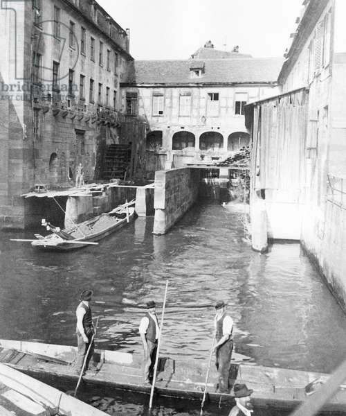 Mill over the river Ill in Strasbourg east of France c. 1900