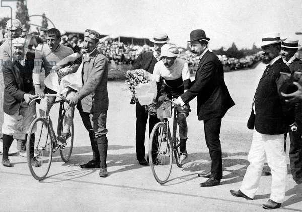 Arrival of Tour de France on july 29, 1906 in Parc des Princes, Paris : Rene Pottier, winner, and Georges Passerieu (2nd)