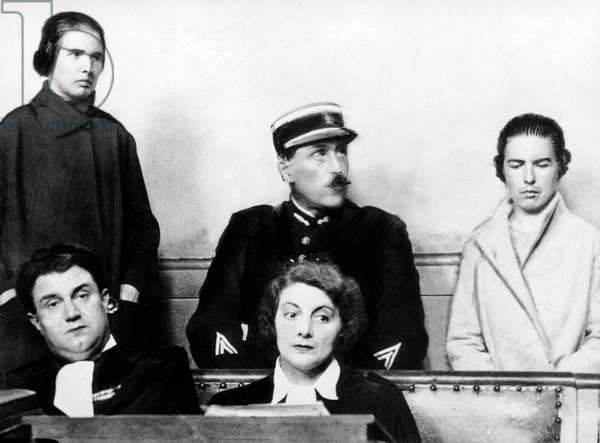 Trial of Papin sisters : Lea and Christine guilties of murder of their boss on february 2, 1933 in Le Mans (France)