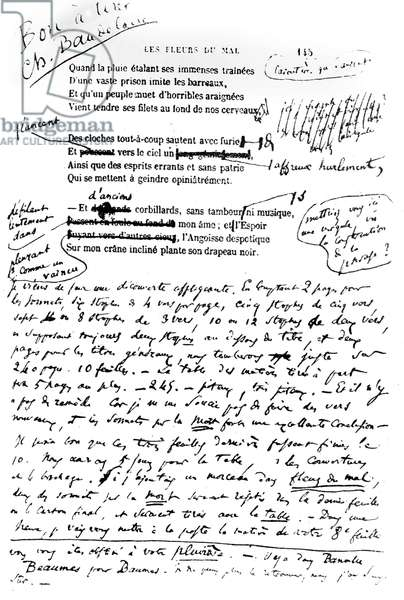 Flowers of Evil  pass for press , annotated in Charles Baudelaire's own hand 1857