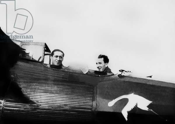 Dieudonne Costes et Bellonte aboard Breguet 19 plane Le Point d'Interrogation (Question mark), at the time of the first non-stop flight from Paris to New York (37 hours flight) september 1, 1930