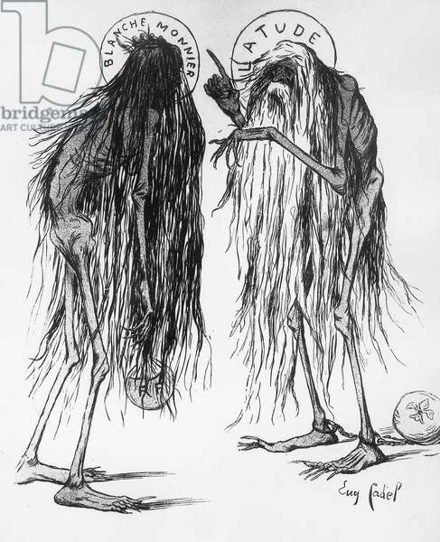 Latude to Blanche Monnier: 'for a woman,not bad... at least you lived in a familly preoccupied by esteem. caricature: l'assiette au beurre,may 23 1901. She lived volontary as a recluse. When police found her , she weigh 25 kg.