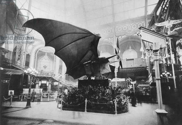Avion III designed by Clement Ader (shape of giant bat) at first aeronautic exhibition in Paris december 1908 aviation aircraft debuts beginnings