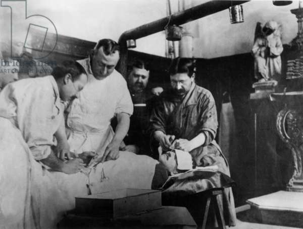 Improvised surgical unit set by the French in a church during the great war