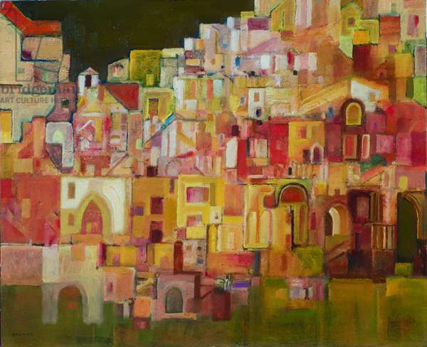 Hill Town ltaly (oil on canvas)