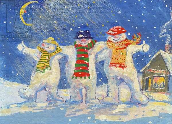 Snowmen's Night Out, 2008 (gouache)