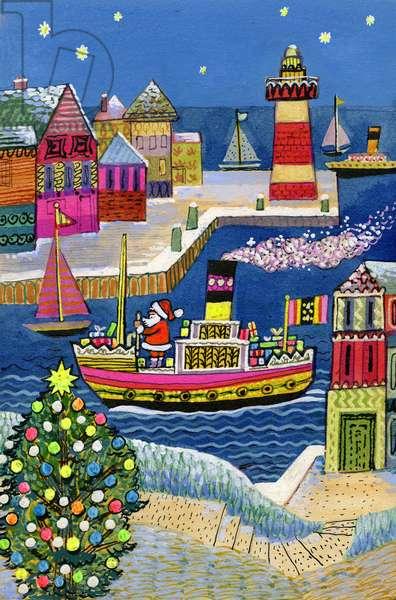 Seaside Santa (gouache on paper)