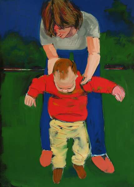 First steps, 2003 (casein on painted paper)
