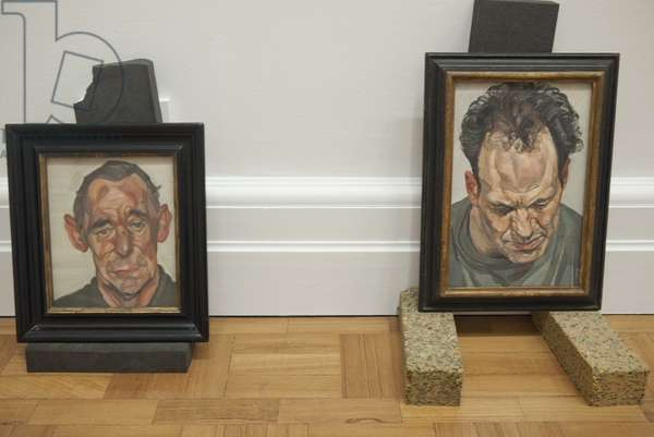 Installation of 'John Deakin' (1963-64) and 'Frank Auerbach' (1975-76) for Lucian Freud's posthumous exhibition, National Portrait Gallery, London, February 2012 (photo)