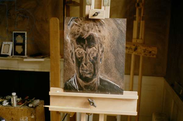 Interior of Lucian Freud's studio with copper etching plate, 'Portrait Head', 2005 (photo)