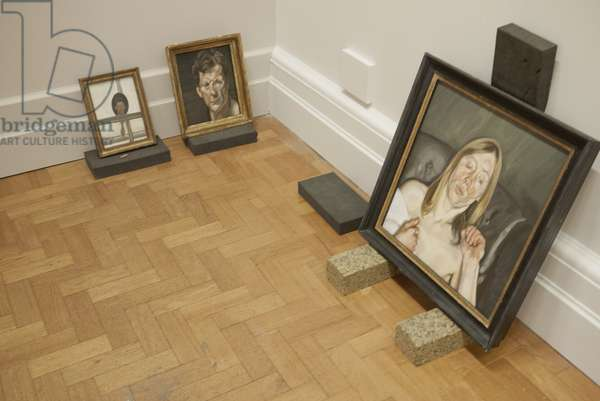 Installation of 'Interior with Hand Mirror (Self Portrait)' (1967), 'Self Portrait' (1963), and 'Girl Holding a Towel' (1967), for Lucian Freud's posthumous exhibition, National Portrait Gallery, London, 2011 (photo)