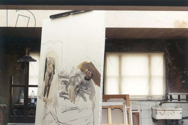 Interior of Holland Park Studio with Lucian Freud's 'Sunny Morning - Eight Legs' (1997), 1996 (photo)