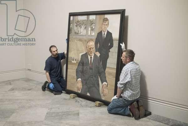 Hanging of Lucian Freud's 'Two Irishmen, W11' (1984-85), 2012 (photo)