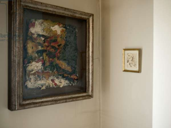 Interior of Lucian Freud's studio with Frank Auerbach's 'E.O.W. Looking into the Fire II' (1962), with accompanying drawing, 2011 (photo)