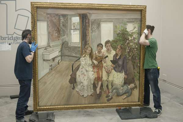 Installation of 'Large Interior, W11 (After Watteau)' (1981-83) for Lucian Freud's posthumous exhibition, National Portrait Gallery, London, 2011 (photo)