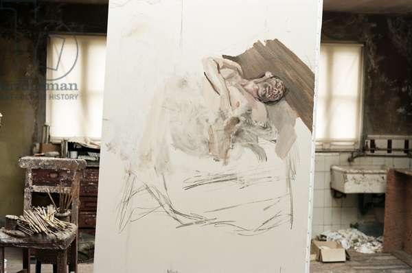 Lucian Freud's 'Sunny Morning - Eight Legs' (1997), Holland Park Studio, 1996 (photo)