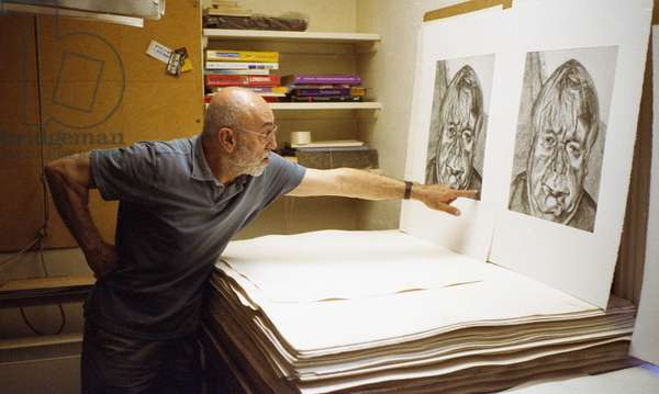 Mark Balakjian at Studio Prints, Lucian Freud print (photo)