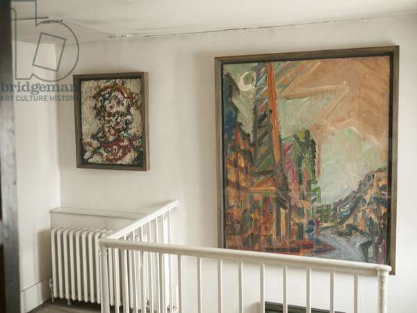 Interior of Lucian Freud's studio with Frank Auerbach's 'Head of E.O.W. III' (1963-64) and 'The Chimney - Mornington Crescent' (1987-88), 2011 (photo)
