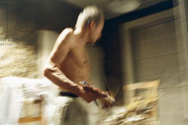 Freud at work, 2005 (photo)