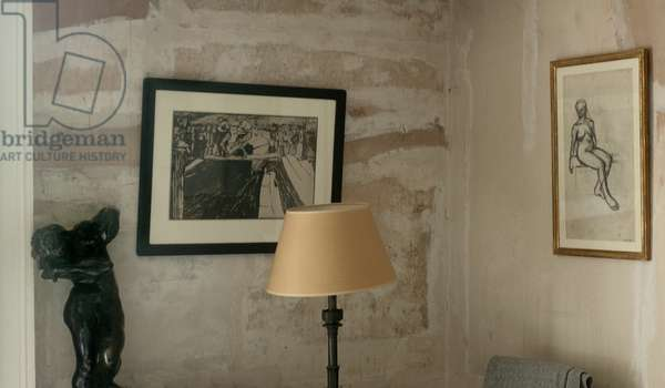 View of Lucian Freud's bedroom, showing 'The Dancing Stevedores' by Jack Butler Yeats (photo) (see also 5889831)
