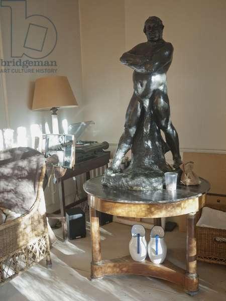 Interior of Lucian Freud's studio with Rodin's 'Naked Balzac' (1892), 2011 (photo)