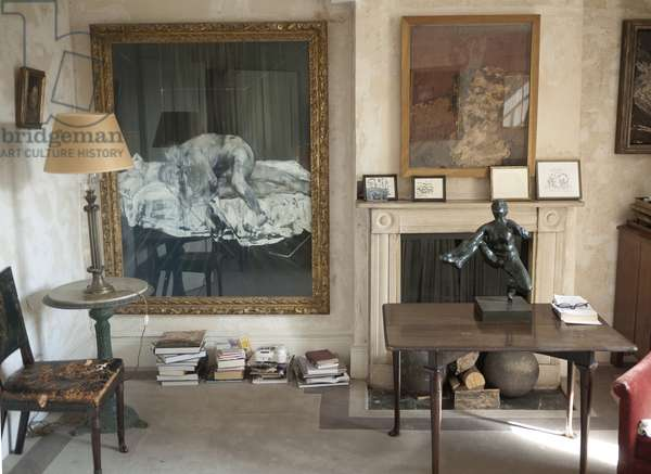 Interior of Lucian Freud's studio with Frank Auerbach's 'Head of E.O.W.' (1955), Francis Bacon's 'Two Figures' (1953), Frank Auerbach's 'Head of Helen Gillespie' (1962) and Rodin's 'Study for Iris, Messenger of the Gods' (c.1890), 2011 (photo)