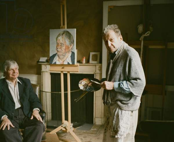 Lucian Freud at work on 'Profile Donegal Man', 2008 (photo)